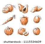 assortment of orange foods ... | Shutterstock .eps vector #1115534609