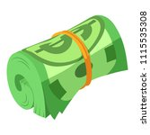 rolled dollars icon. isometric... | Shutterstock .eps vector #1115535308