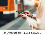 blogger hipster using in hands... | Shutterstock . vector #1115536280