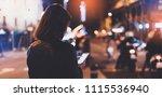 girl pointing finger on screen... | Shutterstock . vector #1115536940