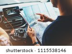 hipster man looking and point...   Shutterstock . vector #1115538146