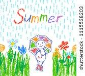 funny man in rain with umbrella.... | Shutterstock .eps vector #1115538203