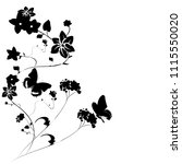 black butterfly  isolated on a... | Shutterstock .eps vector #1115550020
