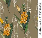 retro wild seamless flower... | Shutterstock .eps vector #1115554616