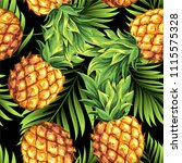 pineapples with green leaves of ... | Shutterstock .eps vector #1115575328