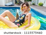 stunning caucasian girl with... | Shutterstock . vector #1115575460
