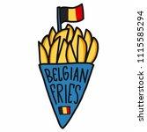 belgian fries cartoon vector...   Shutterstock .eps vector #1115585294