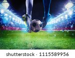 soccer players with soccerball... | Shutterstock . vector #1115589956