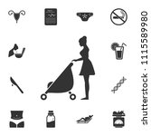 mother with baby carriage icon. ... | Shutterstock .eps vector #1115589980