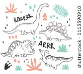 cute dinosaurs and tropic... | Shutterstock .eps vector #1115590910