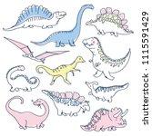 cute dinosaurs doodles set.... | Shutterstock .eps vector #1115591429