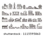 city and building icons set | Shutterstock .eps vector #1115595863