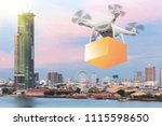 drones flying through the air... | Shutterstock . vector #1115598650