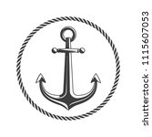 anchor with circular rope frame.... | Shutterstock .eps vector #1115607053