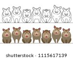Cute Boars Border Set