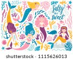 vector set of cute mermaids and ... | Shutterstock .eps vector #1115626013