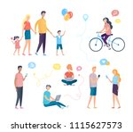 people walking and messaging... | Shutterstock .eps vector #1115627573