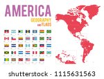 set of 34 flags of america... | Shutterstock .eps vector #1115631563
