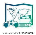 world paper map with ticket and ... | Shutterstock .eps vector #1115633474