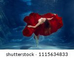 girl mermaid. underwater scene. ... | Shutterstock . vector #1115634833