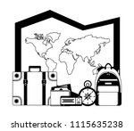 travel map world suitcase... | Shutterstock .eps vector #1115635238