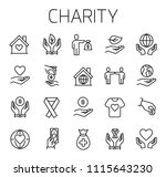 charity related vector icon set.... | Shutterstock .eps vector #1115643230