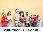 multiracial friends having fun... | Shutterstock . vector #1115645183