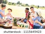 happy multiracial families... | Shutterstock . vector #1115645423