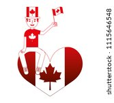 man with canadian flag sitting... | Shutterstock .eps vector #1115646548