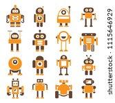 robot character icons orange... | Shutterstock .eps vector #1115646929