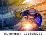 ship repair worker welding are... | Shutterstock . vector #1115650283