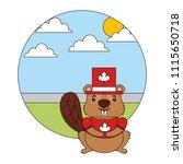 beaver cartoon with canadian...   Shutterstock .eps vector #1115650718