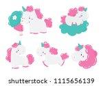 cute magic unicorn and little...   Shutterstock .eps vector #1115656139