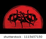 group of people dancing  street ... | Shutterstock .eps vector #1115657150
