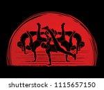 group of people dancing  street ... | Shutterstock .eps vector #1115657150