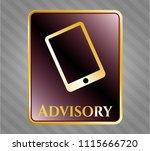 golden emblem with mobile... | Shutterstock .eps vector #1115666720