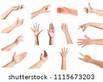 young woman hand gesture and... | Shutterstock . vector #1115673203