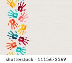 color handprint background... | Shutterstock .eps vector #1115673569