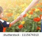 adult holding a child's hand... | Shutterstock . vector #1115674313