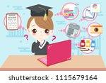 cute cartoon graduate on the...   Shutterstock .eps vector #1115679164