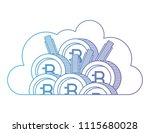 cloud with bitcoin commerce... | Shutterstock .eps vector #1115680028