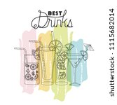 best drinks set icons | Shutterstock .eps vector #1115682014