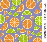citrus fruits sliceds pattern... | Shutterstock .eps vector #1115682068