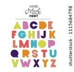 hand made font alphabet | Shutterstock .eps vector #1115684798