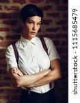 beautiful young woman  model of ... | Shutterstock . vector #1115685479