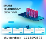concept of big data processing  ... | Shutterstock .eps vector #1115693573