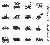 black vector icon set tractor... | Shutterstock .eps vector #1115694563