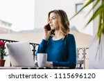 young smiling business woman... | Shutterstock . vector #1115696120