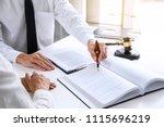 businesspeople or lawyer having ... | Shutterstock . vector #1115696219