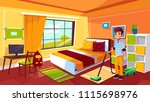 boy cleaning room vector... | Shutterstock .eps vector #1115698976